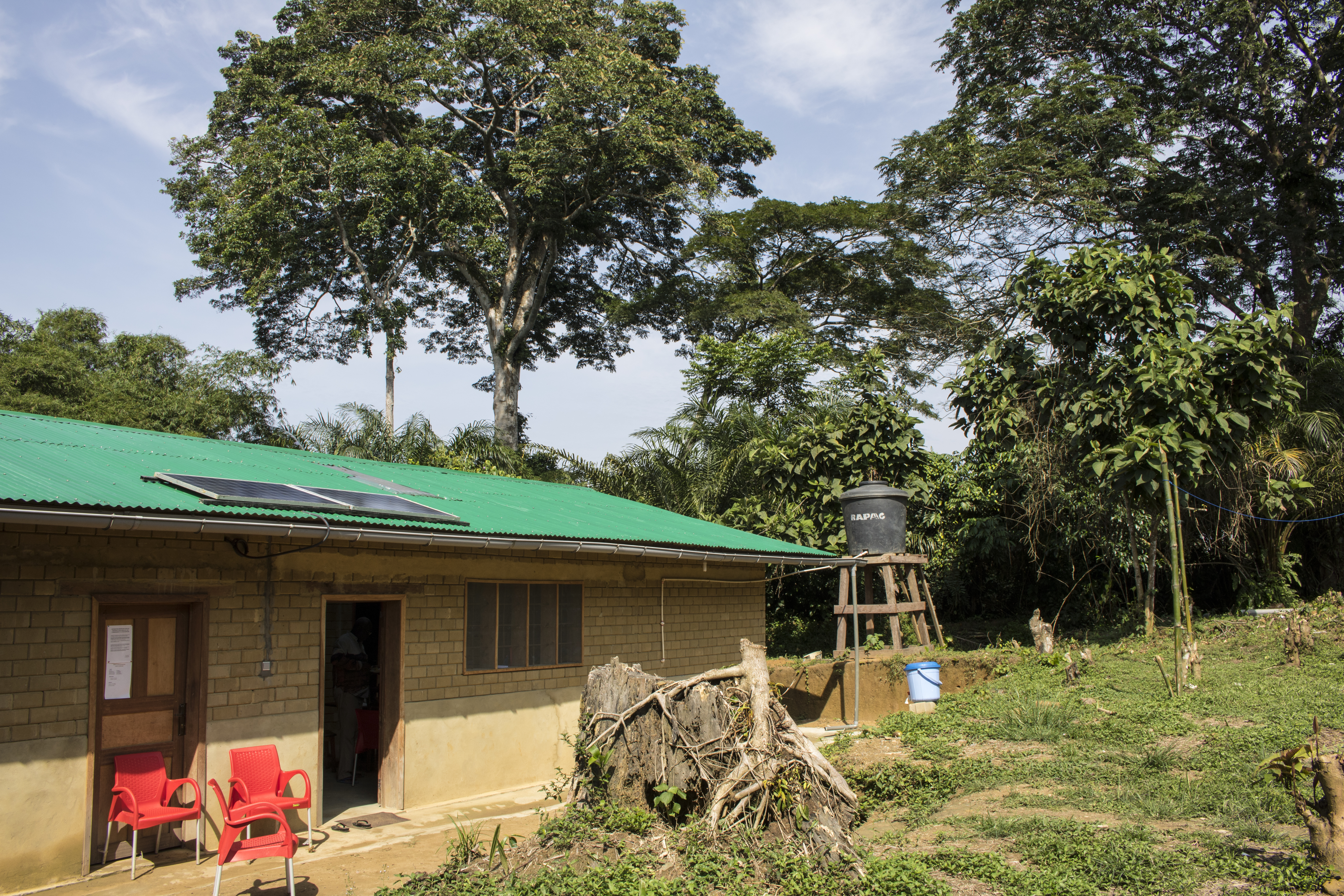 Built in 2018, this guesthouse provides a place for visitors to stay in Monkoto, Salonga's headquarters. (Photo by Molly Bergen/WCS, WWF, WRI)