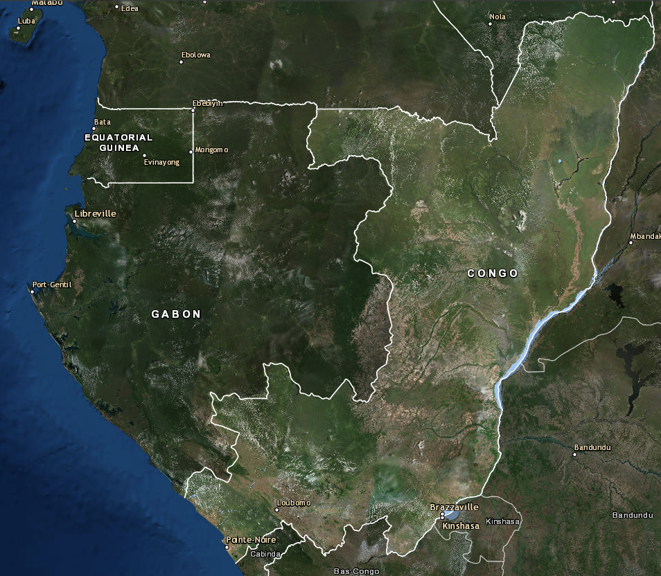 Satellite imageof the Republic of Congo. The country's two major cities, Brazzaville and Pointe-Noire, can be seen in the south. (Courtesy of the Forest Atlas)